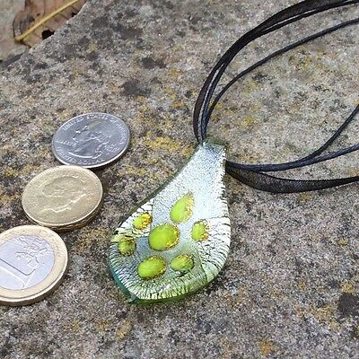 Lovely lime green, silver Murano Venetian glass pendant necklace on cord ribbon