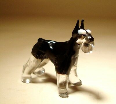 "Blown Glass ""Murano"" Art Figurine Dog SCHNAUZER"