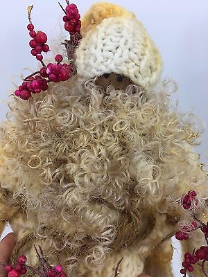 Hand Made Tea Dyed Folk Art Primitive Santa Claus Cable Knit Sweater