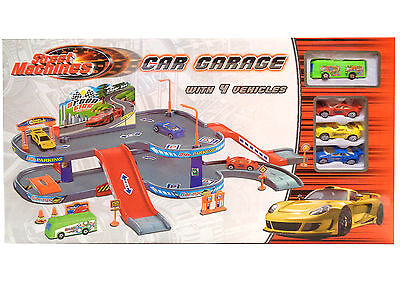 New Street Machines Kids Car Garage Play Set With 4 Toy Cars Xmas Gift Set