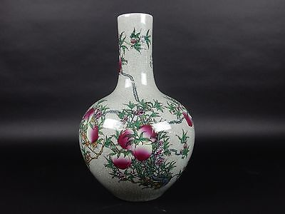 Chinese Crackle Glazed Celadon Vase. Artist signed Hand Painted 16.5 inches