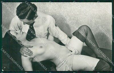 Risque Nude Lady WHITE BACK Real Photo postcard cartolina QT6074