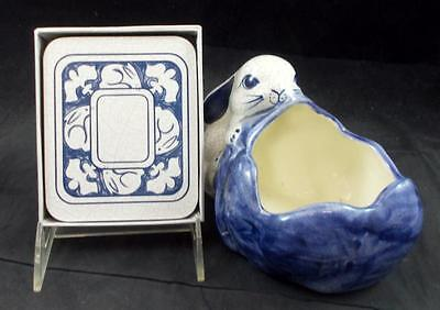 Potting Shed DEDHAM RABBIT Small Planter +  Coasters GREAT CONDITION