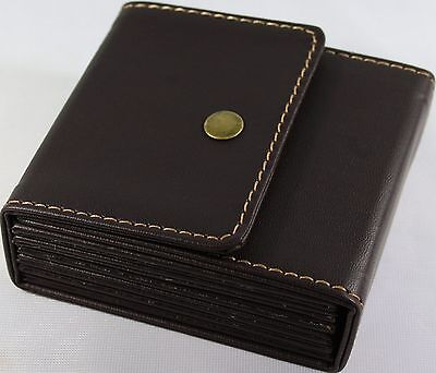 Leather Coasters Set of 6 With Travel Case Brown Faux Leather Great Gift