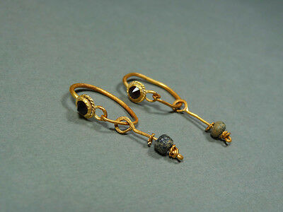 Ancient Gold Garnet & Glass Bead Earrings Greco-Roman 200 Bc-100 Ad