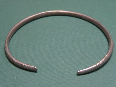 Ancient Silver Bracelet Snake Head Ends Egyptian Late Period 600-35 Bc