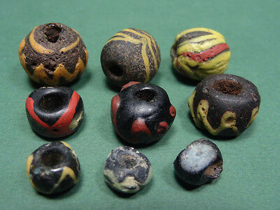 9 Ancient Mosaic Glass Beads Variety Of Designs Egyptian Late Period 716-30 Bc
