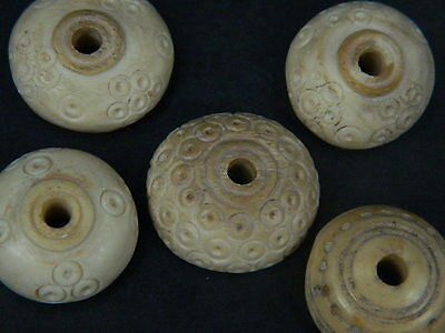 Ancient Bone 5 Spindle whorls/Beads Roman 200 BC   #SG2628