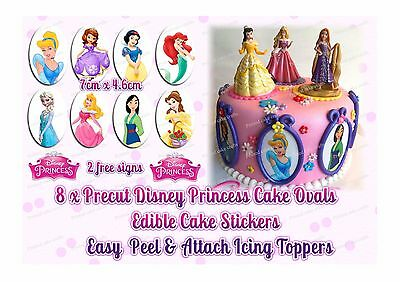 """8 X PRECUT EDIBLE DISNEY PRINCESS OVALS ICING TOPPERS CAKES or 5"""" SIGN"""