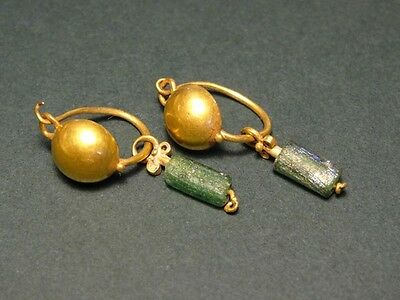 Ancient Gold Earrings / Glass Beads Christie's Provenance Roman 100-300 Ad