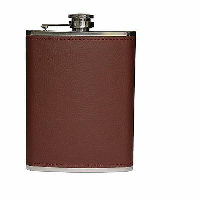 Brown Leather Hip Flask Stainless Steel - New  - 8oz Christmas gift