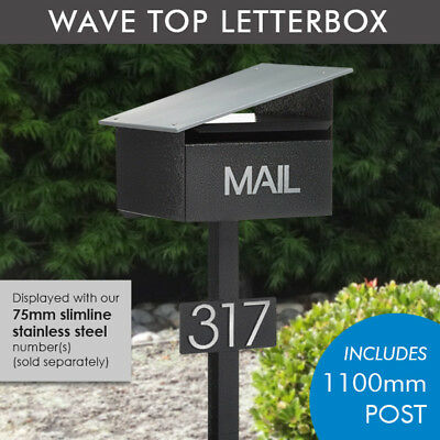 Milkcan Stone Wave Letterbox Freestanding Mailbox with Post + Number Plate