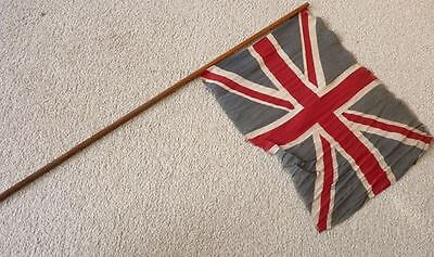 Original WW1 Patriotic British Union Jack Victory Parade Flag on Stick - SA39
