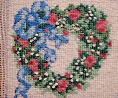 Completed Needlepoint Picture Rose Wreath Blue Ribbon True Vtg 1980s