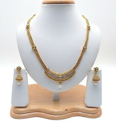 New Indian Bollywood Bridal Traditional Jewellery Wedding Polki Necklace Set