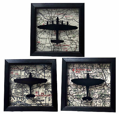 Spitfire Hurricane Lancaster - Framed Map Picture WW2 Air Force RAF