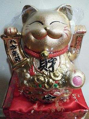 Chinese Luck Gold Ceramic Waving Hand Paw Up Fortune Kitty Cat 8.5 H