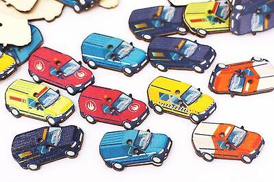 Vehicle Car Wooden Button Van Shaped Child Boy Baby Two Holes Mixed 32mm 100pcs