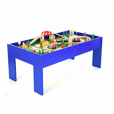 Wooden Train Table Set 90 Piece Blue Wooden Toy