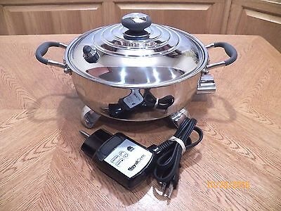 """ROYAL PRESTIGE CORE 10 1/2"""" Stainless Steel Electric Skillet Liquid Core MINT!!"""