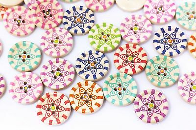 Bohemian Flower Wooden Button 20mm 50pcs