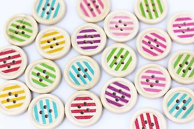 Striped Wood Sewing Buttons Child Baby Four Holes Mixed Colors Wood 20mm 100pcs