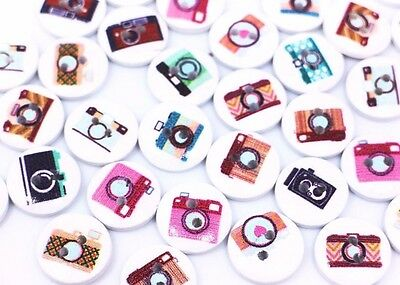Camera Wooden Buttons 15mm 50pcs