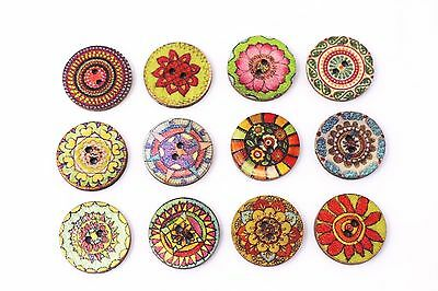 Bohemian Flower Wood Sewing Buttons 20mm 50pcs