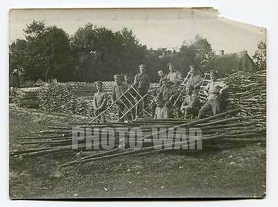 Offensive preparations, scaling-ladders,  interesting and rare WWI photo