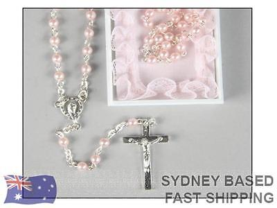 My First Rosary Beads Pink Baptism Communion Gift