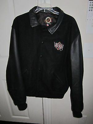 Pete's Wicked Ale Black Leather & Fabric Bomber Jacket/coat - Size Large - Nice