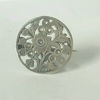 Antique Victorian Edwardian Silver Brooch With C Clasp Small Round Floral Design
