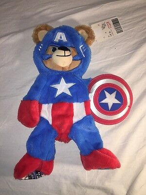 """Build a Bear Marvel 16"""" Captain America With Shield Plush Retired Unstuffed NWT"""