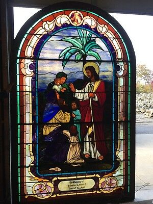 """Sg 26 Antique Stainglass Window Jesus With Children Painted And Fired 116"""" X 6'"""