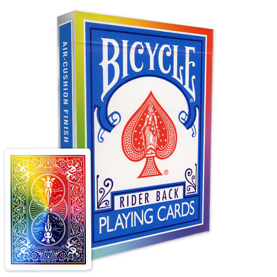 Rainbow Backed Bicycle Playing Cards  / Deck - WHITE - Genuine  + 2 Gaff cards