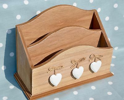 Wooden Letter Rack 3 Hanging Hearts Shabby Chic Rustic Post Storage