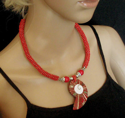Beaded shell choker necklace coral red handmade fair trade statement ethnic