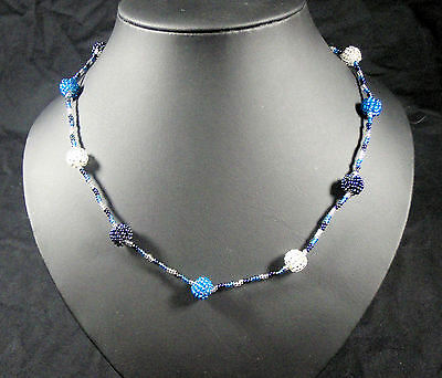 necklace hand made African jewellery beaded bobble, blue, navy,white