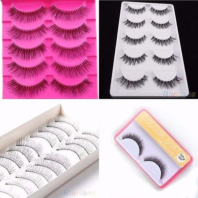 Natural Pairs Long Thick Handmade Makeup Fake False Eyelashes Eye Lashes (INT)