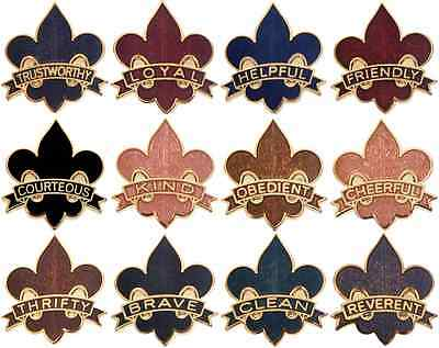 Boy Cub Eage Scout Law Uniform Pin Badge Set Merit Award BSA Lot