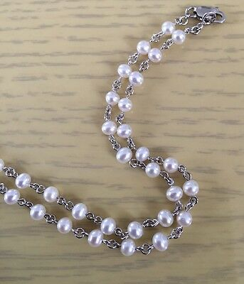 18ct White Gold Chain Necklace With Cultured Pearls