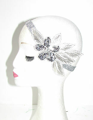 Silver Sequin Beaded Headband Headpiece Vintage 1920s Great Gatsby Flapper 837