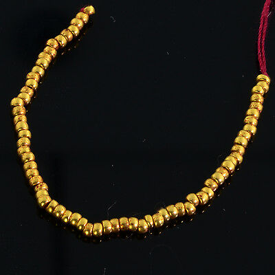 """1.8mm 18k Solid Gold Plain Rondelle Spacers Beads 3.25"""" Strand (72)"""