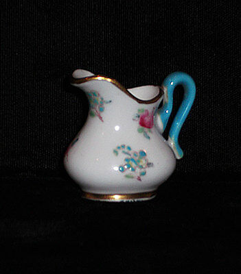 Vintage Crown Staffordshire Floral With Turquoise Mini / Miniature Creamer Mint