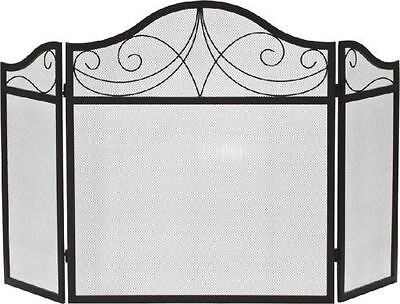 Black 3 Fold Wrought Iron Arched Panel Screen - 30 inch