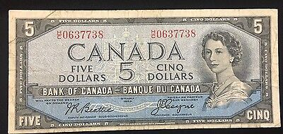 1954 Bank of Canada $5 Devil's Face Banknote