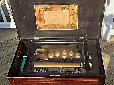Ant Music Box 12 Tunes Pin Roller 6 Bells and Drum Henry Gautschi & Sons Phil PA