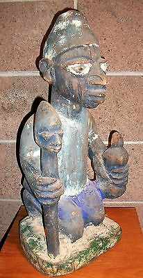 Rare Antique Carved Wooden Sculpture Native with Head on a Stick. Yoruba Nigeria