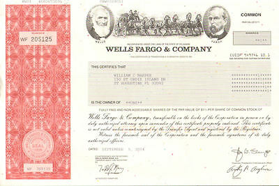 Wells Fargo & Company   Big 4 Bank stock certificate