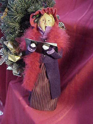 2004 Byers Carolers Victorian Woman Red Dress and Red Fluffy Boa    Perfect by68